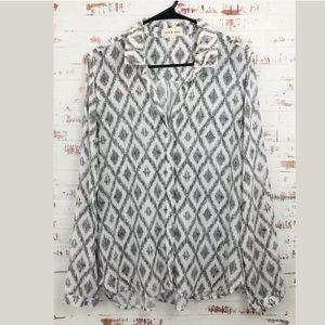 Cloth & Stone Rayon Blouse Black/White Diamond